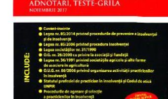 Cartea Insolventa si lichidare. Legislatie, modele de acte, adnotari, teste-grila – Adriana Violeta Nistor (download, pret, reducere)